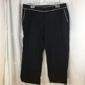 Venezia Black sateen crop pant with white piping